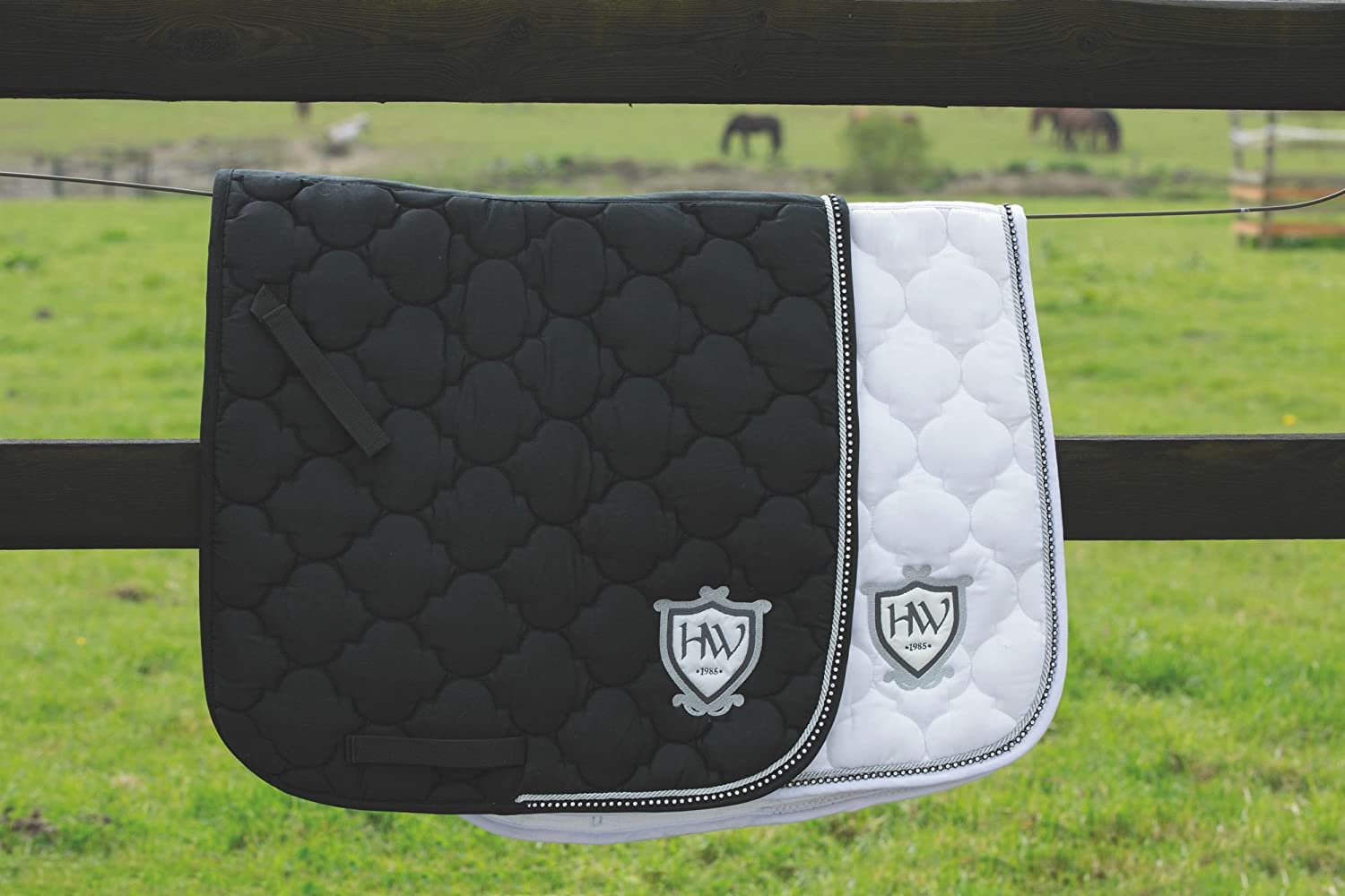 Black Rambo Diamante Dressage Saddlepad Cob Horse