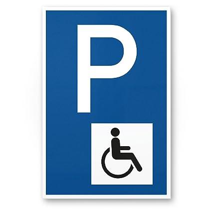 Aparcamiento minusválidos, Cartel de aparcamiento de minusválidos (Azul, 20 x 30 cm)