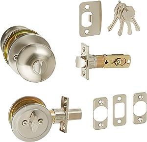 Design House 727347 Canton 6-Way Universal Entry Door Knob and Deadbolt Combo, Satin Nickel