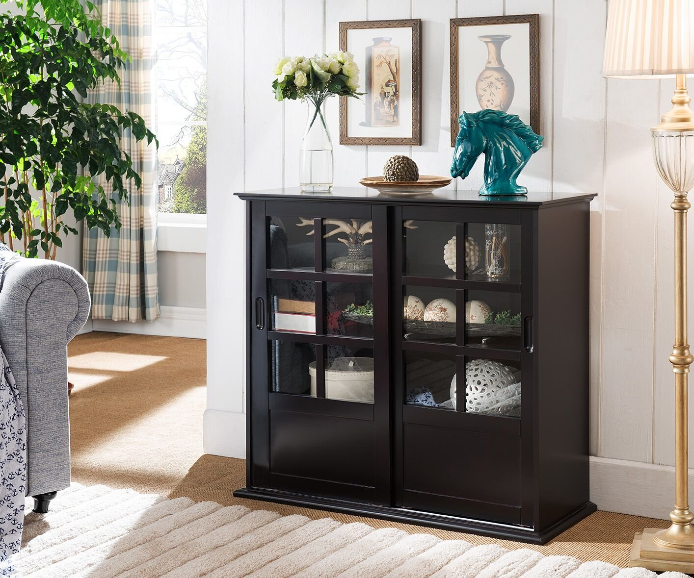Kings Brand Furniture CU1441 Holmes Espresso Wood Curio Cabinet with Glass Sliding Doors