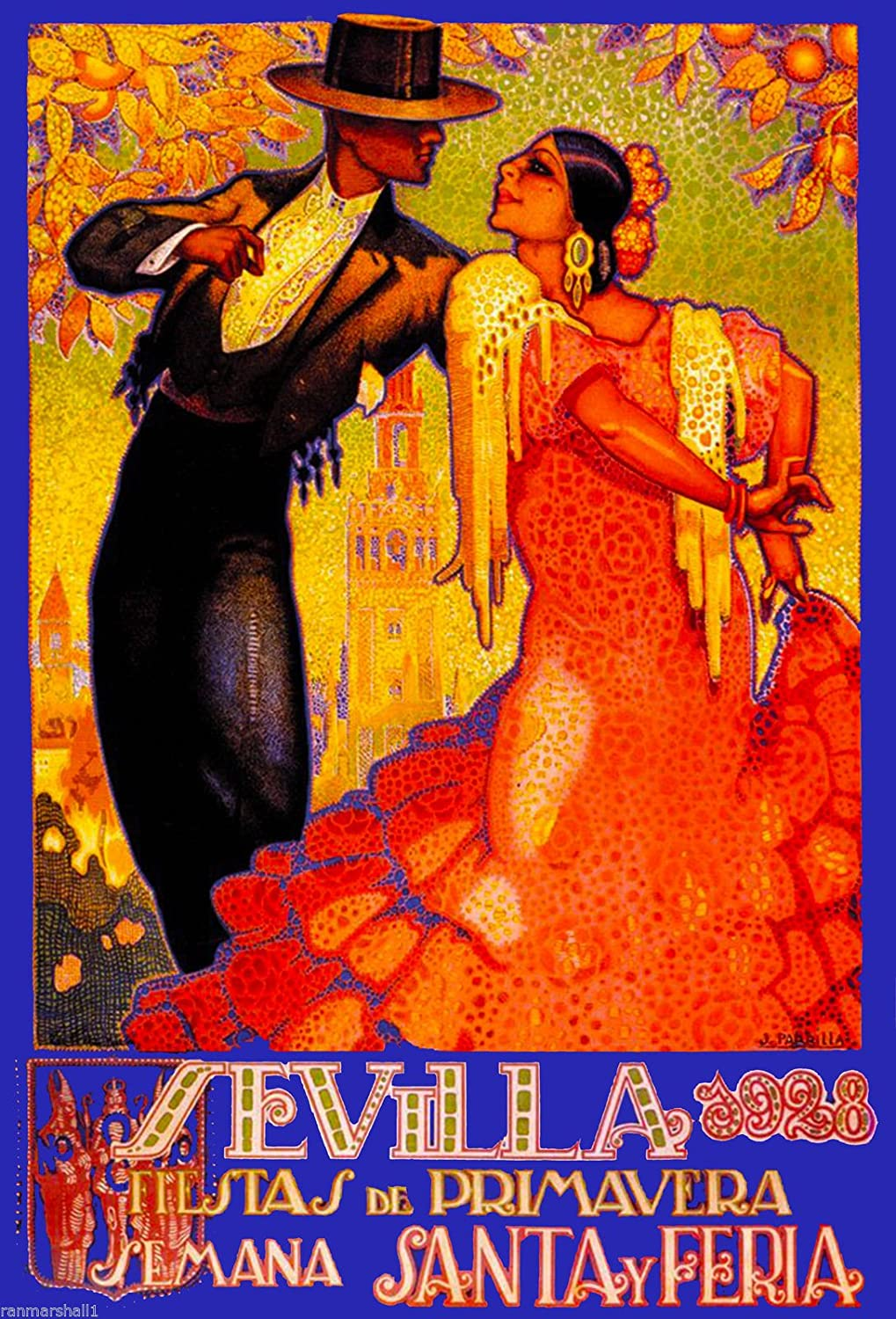 A SLICE IN TIME 1928 Feria de Sevilla Fair of Seville Spain Vintage Travel Advertisement Art Collectible Wall Decor Poster Print. Measures 10 x 13.5 inches
