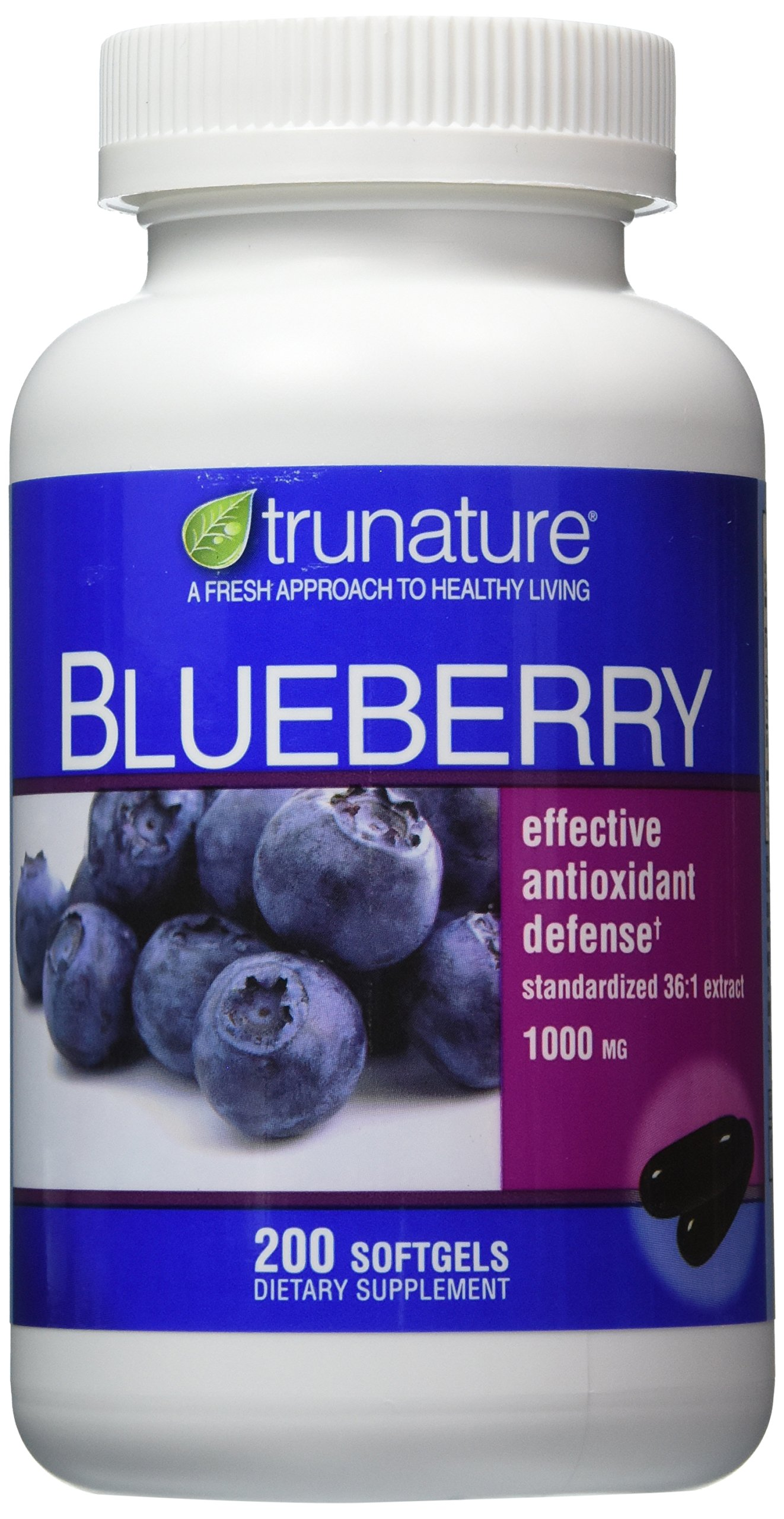 TruNature Blueberry Standardized Extract 1000 mg - 2 Bottles, 200 Softgels Each