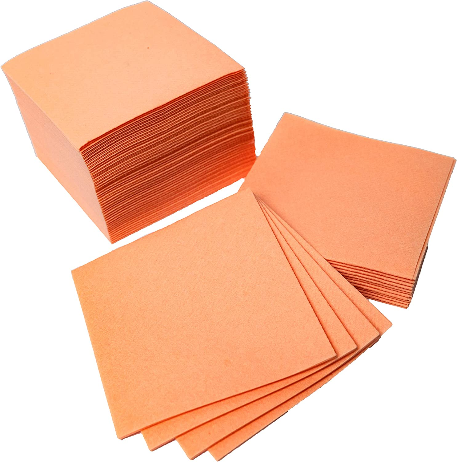 """American Homestead Cocktail Napkins - Small 4"""" x 4"""" Linen-Like Disposable Beverage/Bar Napkins - Bulk Square Napkins Eco-Friendly & Compostable - Everyday Use, Party or Wedding (100 Count, Peach)"""