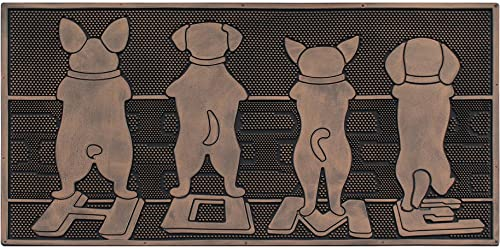 A1 HOME COLLECTIONS A1HOME200125 Doormat A1HC Dogs Rubber Mat, Beautifully Copper Finished 18 X 30 , Puppy Tail Home