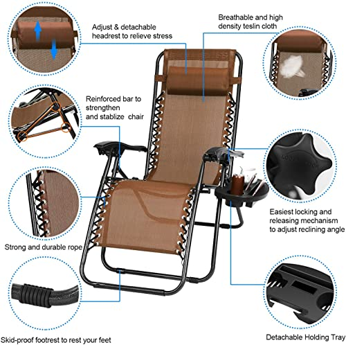 Zero Gravity Chair Adjustable Patio Lounge Chairs TeqHome Set of 2 with Pillow Beach Pool Outdoor Folding Reclining Chair with Cup Holder- Brown