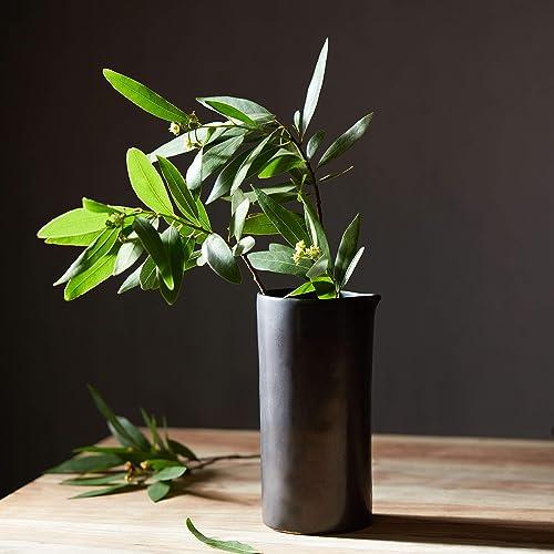 Libbey Prologue Drift Handmade Ceramic Carafe Vase, Black