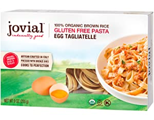 Jovial Egg Tagliatelle Gluten-Free Pasta | Whole Grain Brown Rice Egg Tagliatelle Pasta | Lower Carb | Kosher | USDA Certified Organic | Made in Italy | 9 oz (12 Pack)