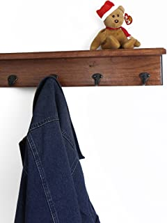 "product image for Solid Cherry Shelf Coat Rack with Aged Bronze Single Style Hooks (Mahogany, 16"" with 3 hooks)"