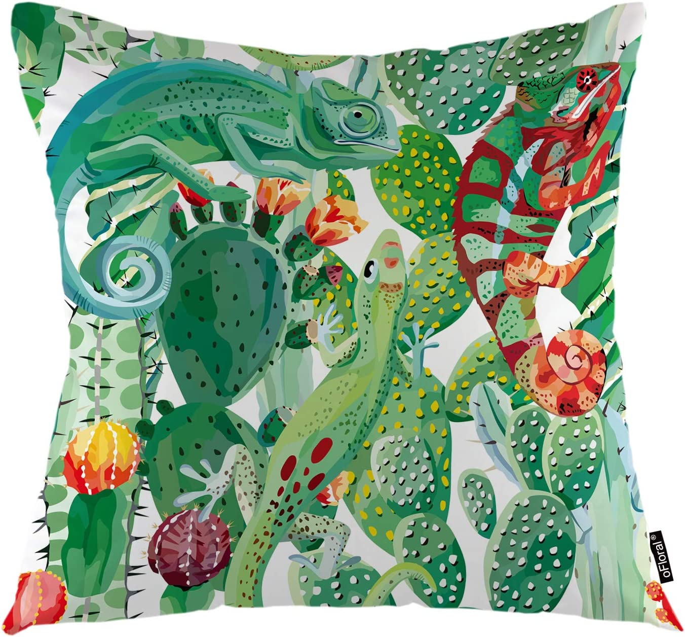 oFloral Cactus Throw Pillow Cover Tropical Cacti Plant Chameleon Animal Wild Flowers Decorative Pillow Case Home Decor for Sofa Bedroom Liveroom 18x18 Inch Pillowcase