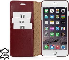 StilGut Talis avec fonction de support, housse portefeuille fine en cuir pour iPhone 6s Plus (5.5 pouces), bordeaux