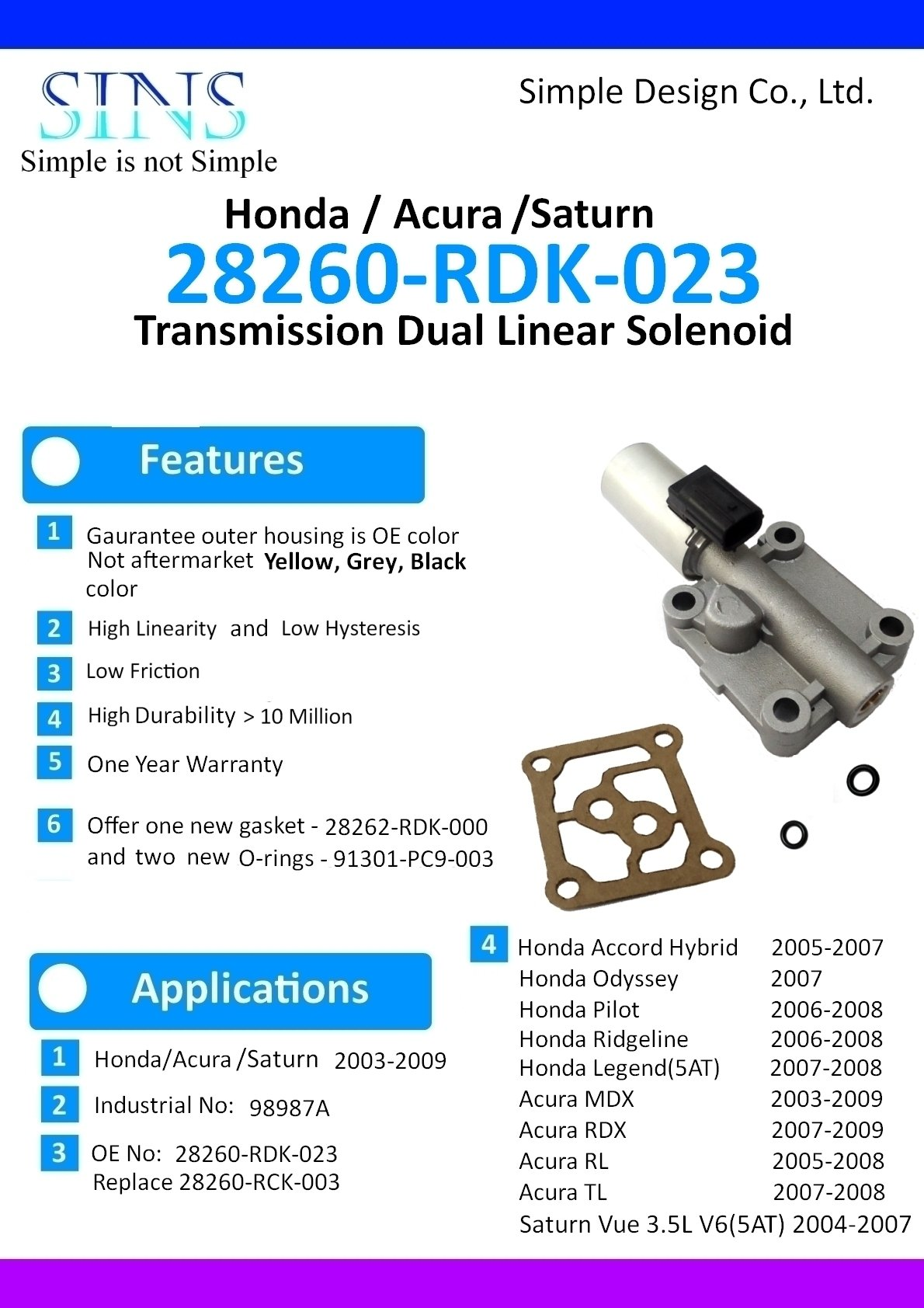 SINS - Accord Hybrid Odyssey Pilot Ridgeline Legend MDX RDX RL TL Saturn Vue 3.5L V6 Transmission AT Clutch Pressure Control Solenoid Valve C 28260-RDK-023 28260-RCK-003 by SINS (Image #6)