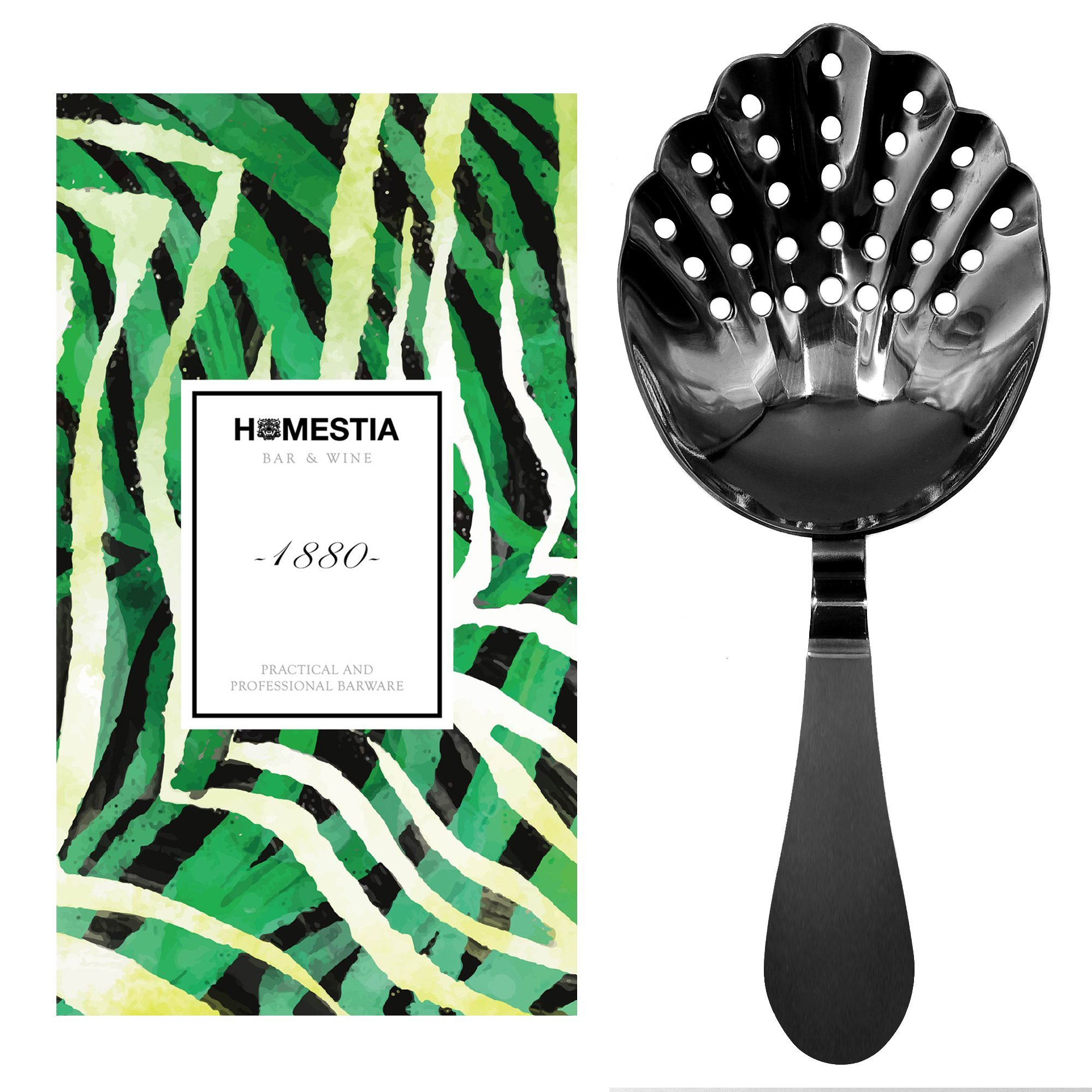 Homestia Julep Strainer Black Shell Style Bar Strainer, 6.7''