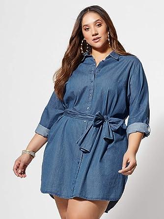 46b7e1095f Amazon.com: New York & Co. Women's Kacey Tie-Front Denim Shirt Dress ...