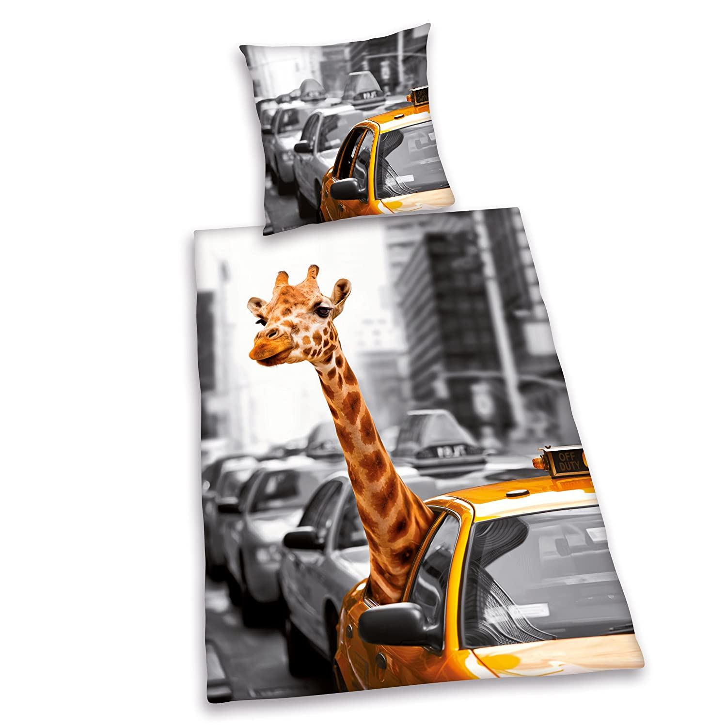 New York Taxi Cab and Giraffe Single/US Twin Duvet Cover