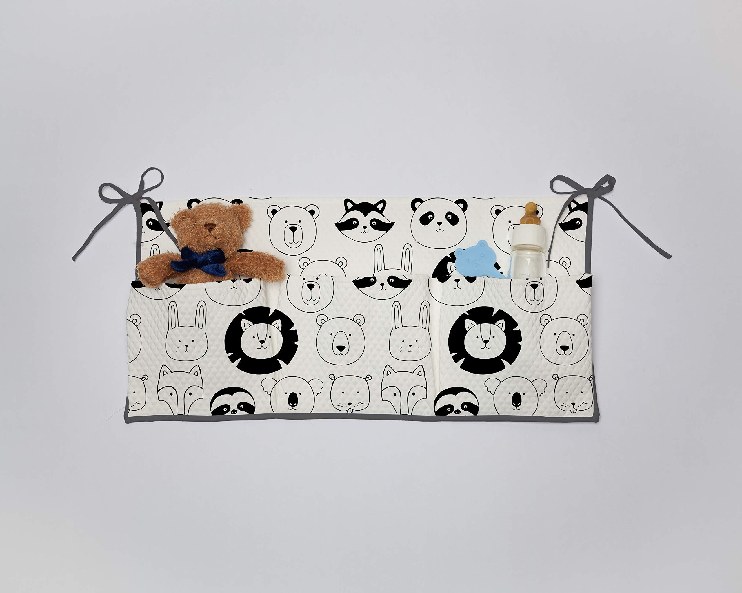 Dear Bestiario Animal Faces Crib Organizer, Polyester, Print, Single