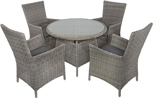 Belice mimbre ratán 4-Seat Patio muebles de jardín mesa de comedor y sillas Set: Amazon.es: Jardín