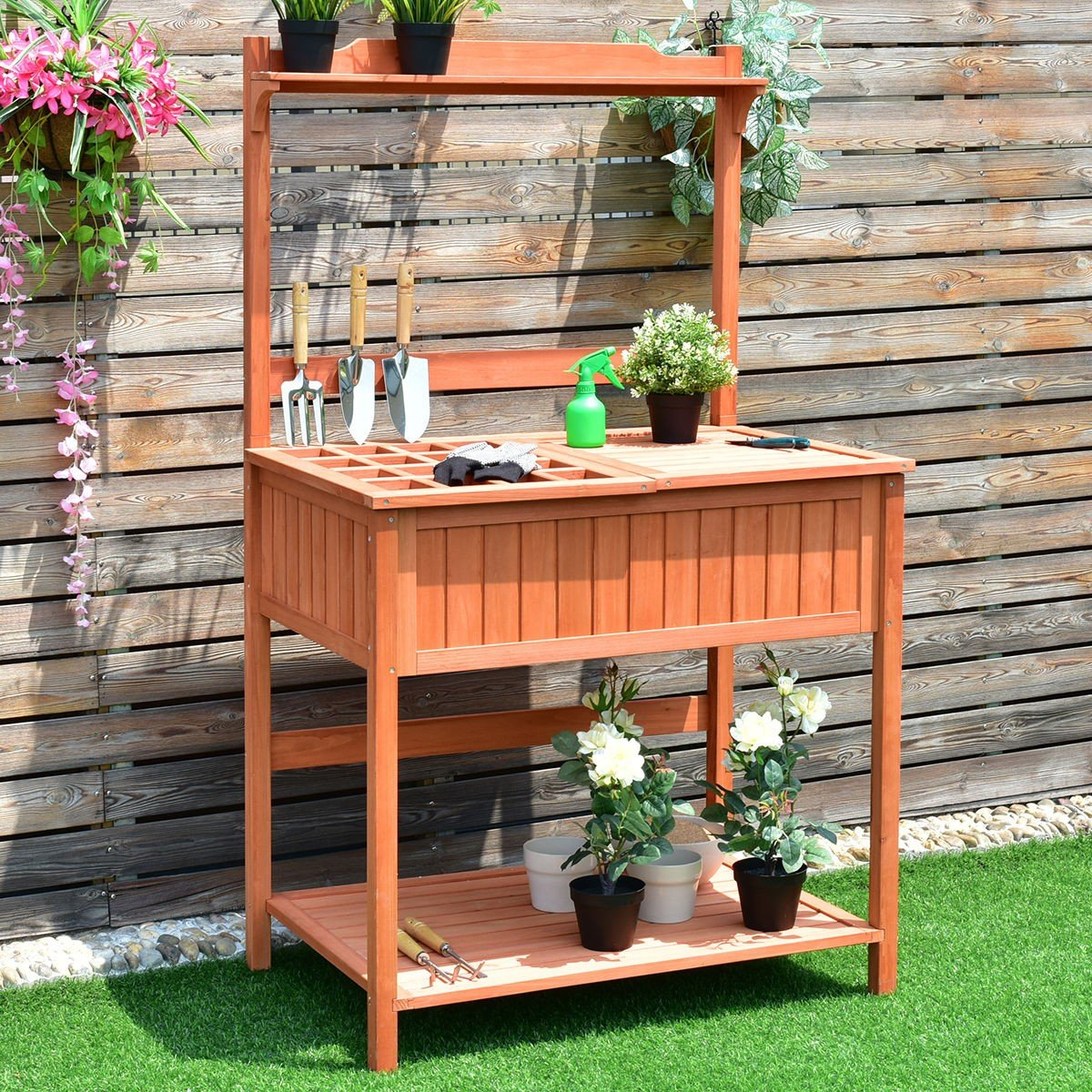Outdoor Wooden Planting Potting Workstation Table - By Choice Products