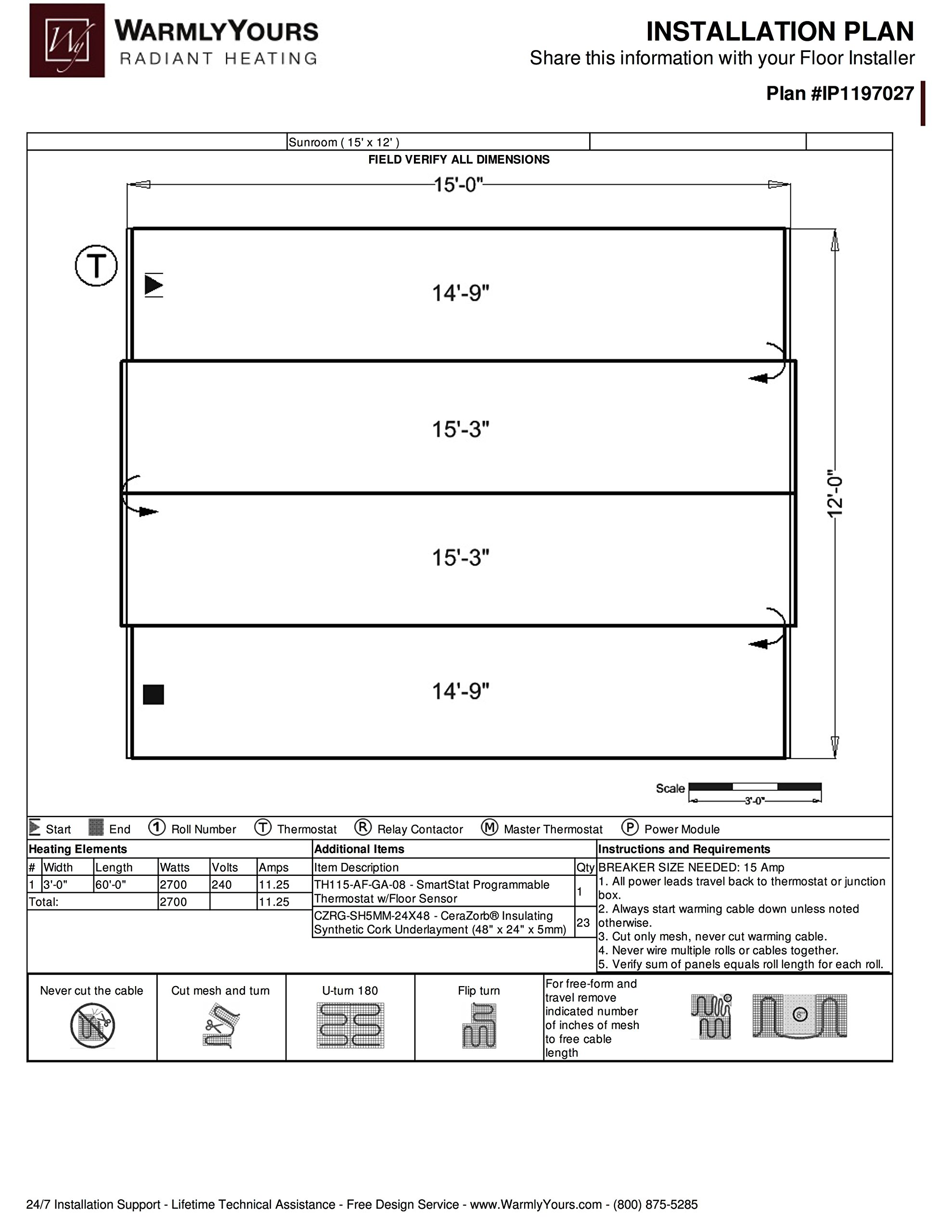 Warmly Yours TRT240-3.0x60 TempZone 240 V Twin Roll, 3' x 60' by WarmlyYours