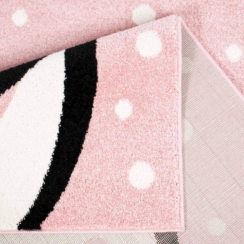 Farbe:Grau MyShop24h Kinderteppich Teppich f/ür das Kinderzimmer Spielzimmer Pinguin Herz wei/ß gepunktet in Rosa Beige und Grau Gr/ö/ße in cm:80 x 150 cm