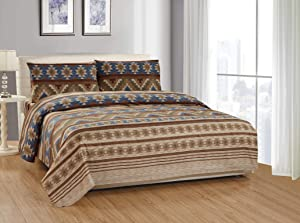 Rustic Western Southwestern Native American 4 Piece King Size Sheet Set in Beige Taupe Brown Blue and Green Color Scheme (King Austin Taupe Sheet Set)