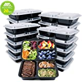Adoric [20 Pack] Meal Prep Containers 3 Compartment, FDA Approved Food Storage Containers with Lids, Plastic Food Prep Containers Lunch Box, Reusable Bento Boxes, Dishwasher Microwave Safe  (36 ounce)