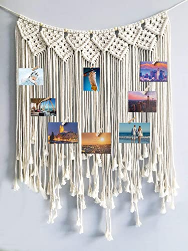 LSHCX Bohemian Macrame Wall Hanging Woven Tapestry Hanging Picture Photo Display with 15 Wood Clips Photo Organizer Home Wall Decor