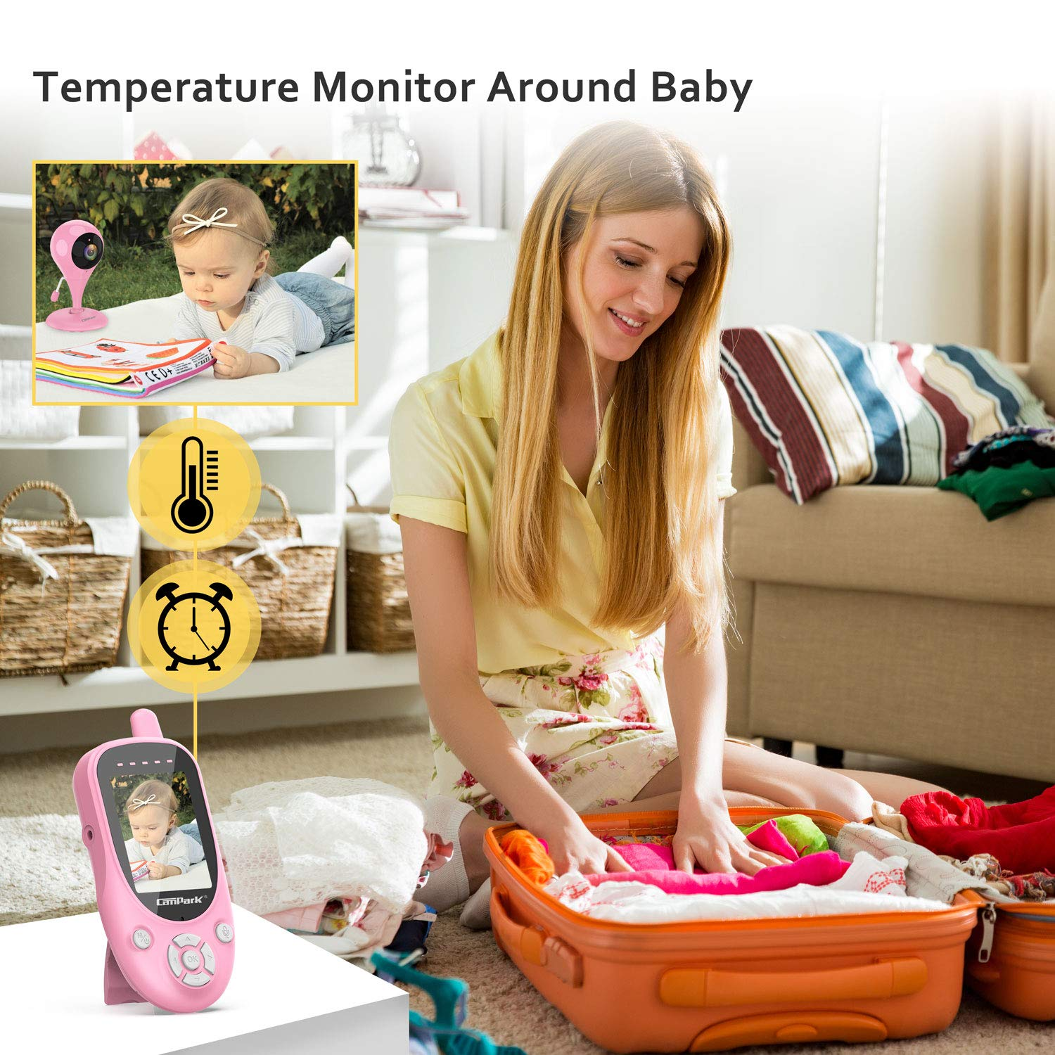 Campark Baby Monitor Pink 2.4GHz Wireless Digital Camera with Night Vision 1000ft Range Transmission 2-Way Talk VOX Temperature Sensor and Lullabies
