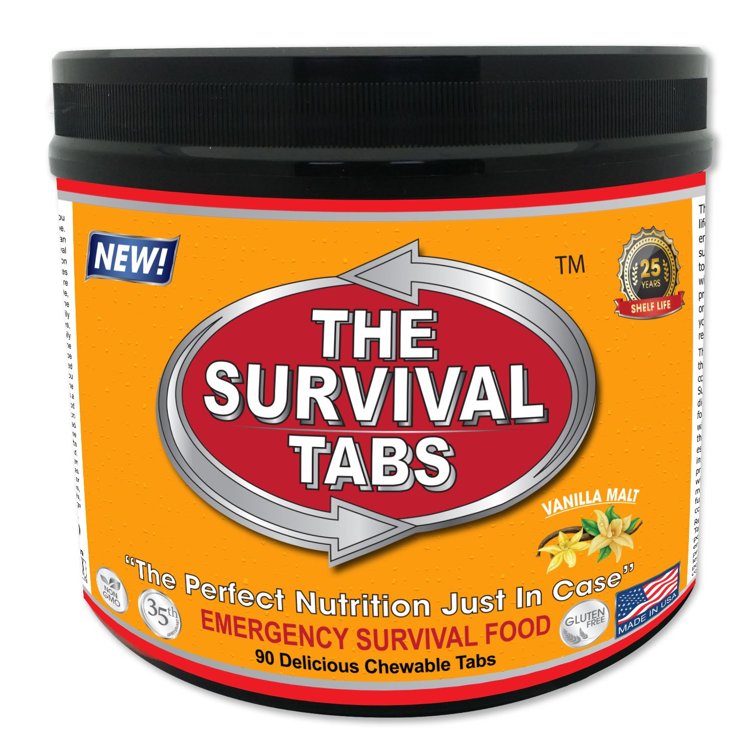 90 tabs Survival Tabs 7-day Emergency Survival MREs Meals Ready-to-eat Bugout for Travel Camping Boating Biking Hunting Activities Gluten Free and Non-GMO 25 Years Shelf Life - Vanilla Malt Flavor