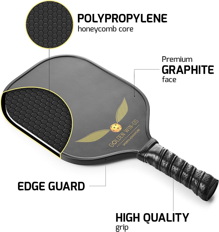 Golden win-gs grafito/de fibra de carbono compuesto de polímero de Pickleball paleta – panal Core – Durable raqueta con combinación óptima de control de potencia y bola de impacto + libre funda
