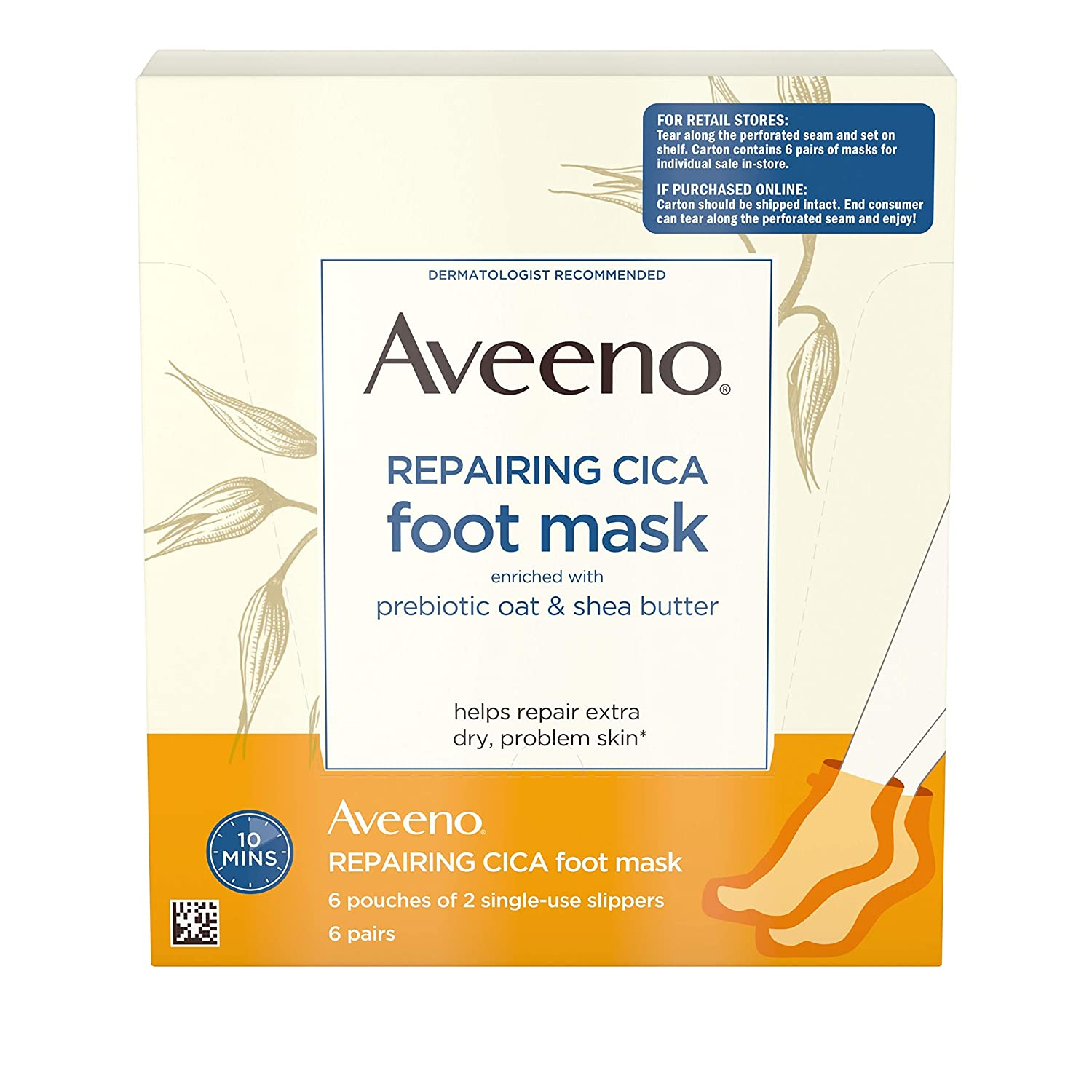 Amazon Aveeno Repairing Cica Foot Mask With Prebiotic Oat And