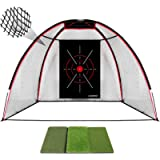 Champkey TEPRO 10' x 7' Golf Hitting Net with Golf Hitting Mat | 5 Ply-Knotless Netting with Impact Target Golf Driving…