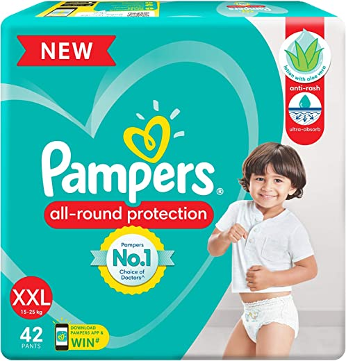 Pampers All round Protection Pants, Double Extra Large size baby diapers (XXL), 42 Count, Anti Rash diapers, Lotion with Aloe...
