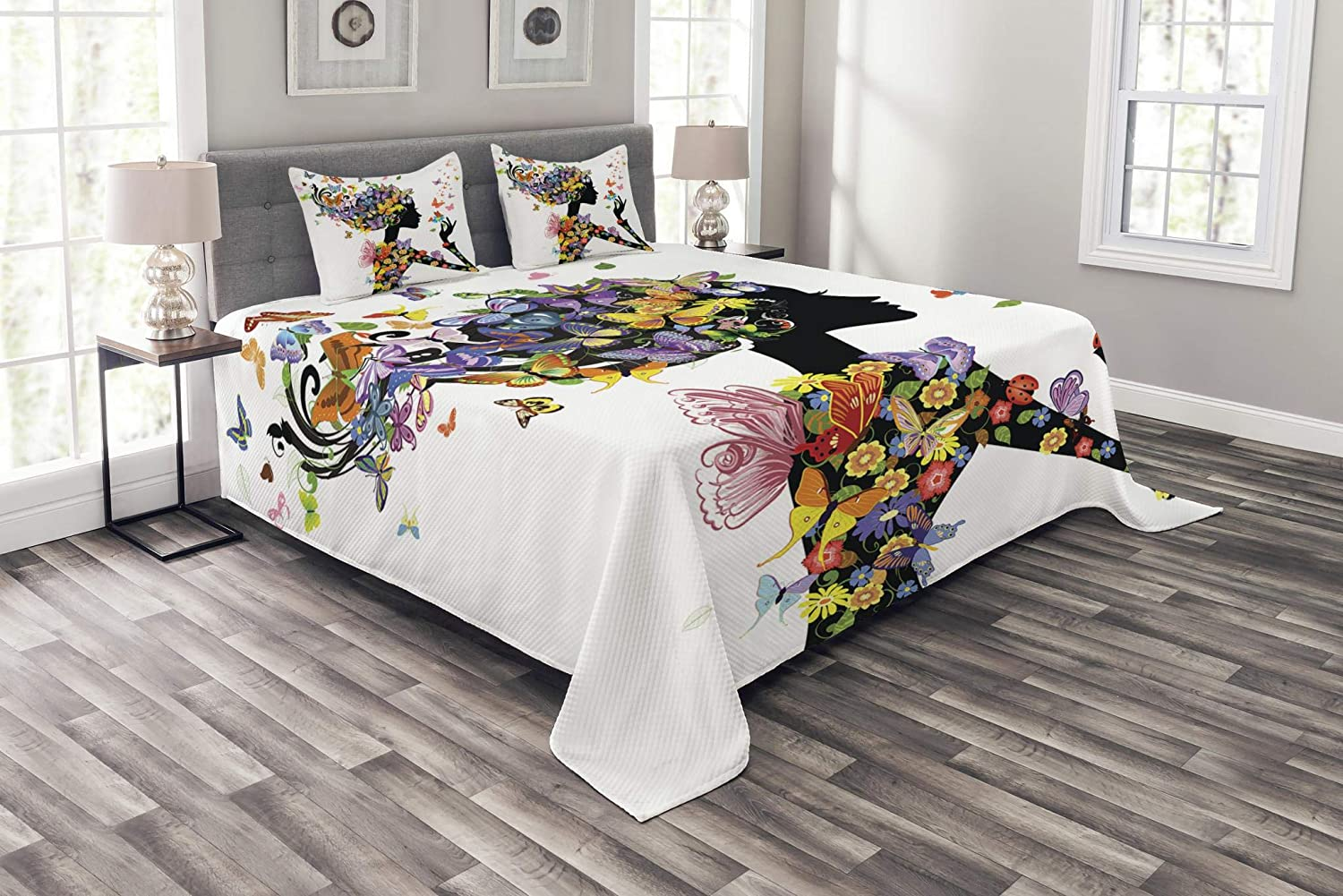 Ambesonne Butterflies Bedspread Set Queen Size, Girl Fashion Flowers with Butterflies Ornamental Floral Foliage Nature Forest, Decorative Quilted 3 Piece Coverlet Set with 2 Pillow Shams, Multicolor bed_11017_queen