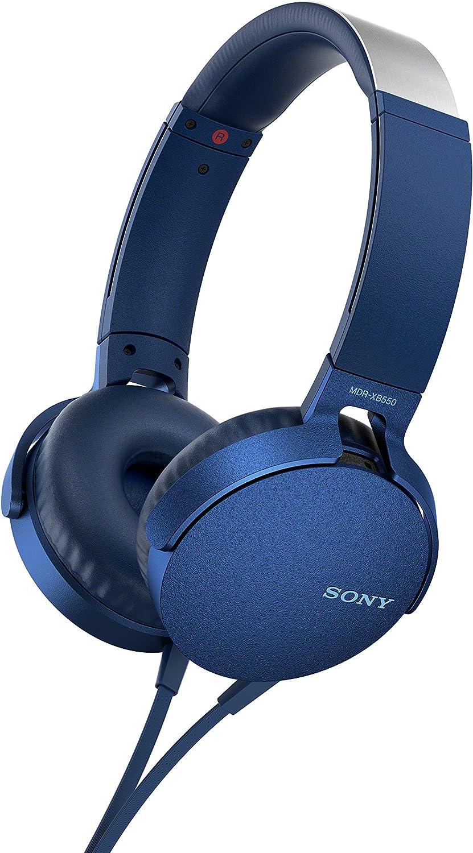 Sony MDR-XB550APL - Auriculares de Diadema Extra Bass (micrófono Integrado Compatible con Smartphones, Diadema metálica Adaptable) Color Azul