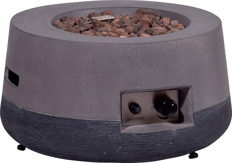 dobar Outdoor de Lava de Horno Redondo con Piedras de Lava, propano Gas de Llama, magnesio de Fuego de Interfaz Hoguera, Gris, 60 x 60 x 30 cm
