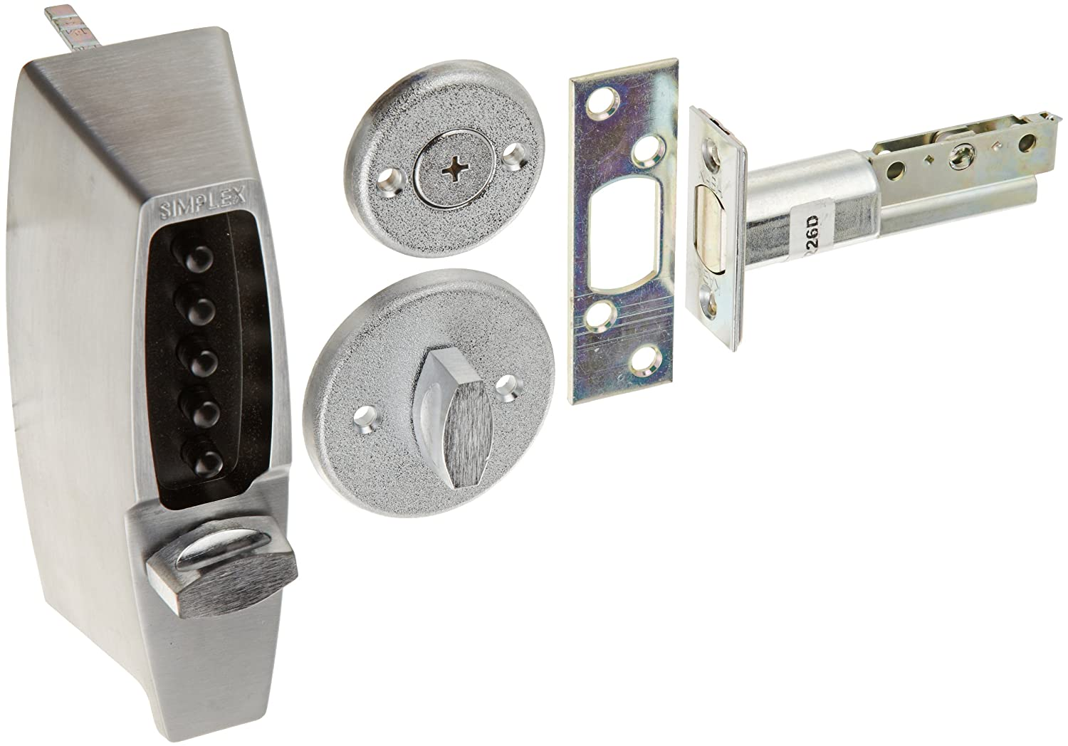 B00EA9H2EY Kaba Simplex 7100 Series Metal Mechanical Pushbutton Auxiliary Lock with Thumbturn, 25mm Tubular Deadbolt, Flat Front Face Plate, 70mm Backset, Satin Chrome Finish 81FJuSdgJbL._SL1500_