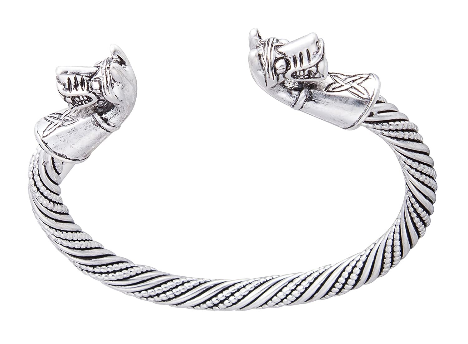 Ancient Double Horse Pony Head Celtic Knot Cuff Bracelet for Men/Women Jewelry YiYou