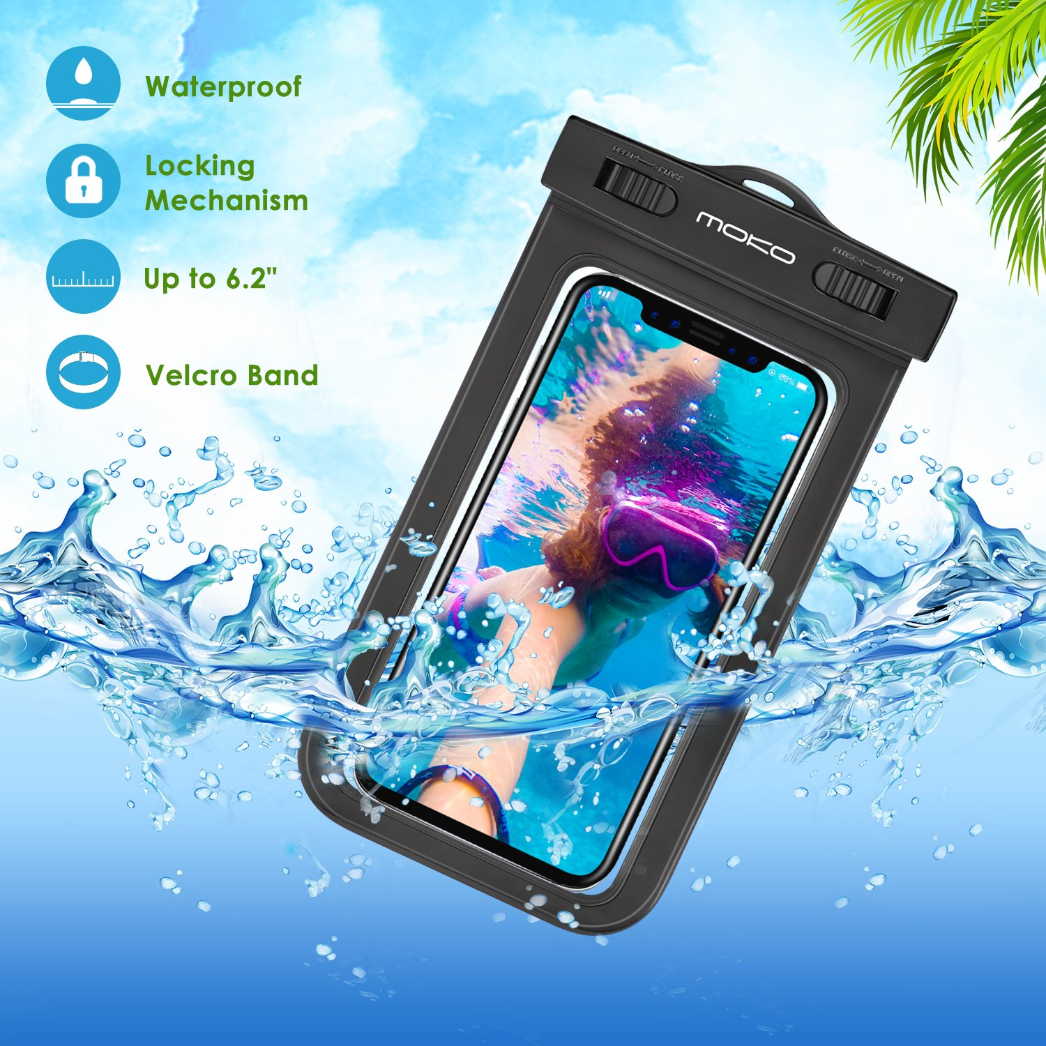 MoKo Waterproof Phone Pouch, Underwater Waterproof Cellphone Case Dry Bag with Lanyard Armband Compatible with iPhone X/Xs/Xr/Xs Max, 8/7/6s Plus, Samsung Galaxy S10/S9/S8 Plus, S10 e, S7 Edge, Black by MoKo (Image #3)