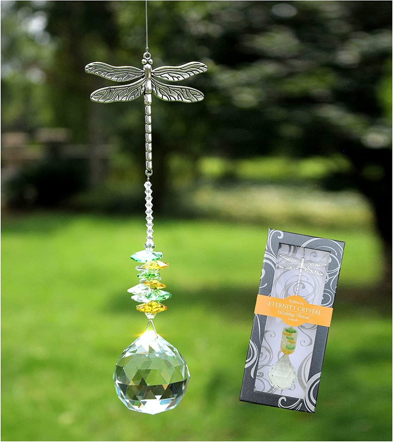 Rosleanny Crystal Garden Suncatcher Hanging Crystals Ornament for Window Rainbow Maker Prisms Home Decor Gift Boxed Sun Catcher Gift Idea for Mom Friends Grandma, Dragonfly : Garden & Outdoor