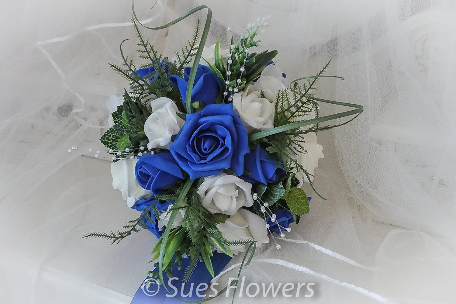 WEDDING FLOWERS BRIDESMAID BOUQUET IN ROYAL BLUE AND IVORY: Amazon ...