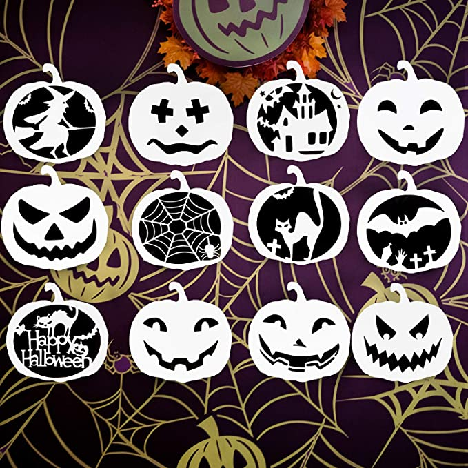 Plantillas de Pintura BESTZY 16 Piezas Plantillas de pl/ástico para dibujo de Halloween Plantillas de Estarcido Reutilizables Decorativas de Bricolaje A