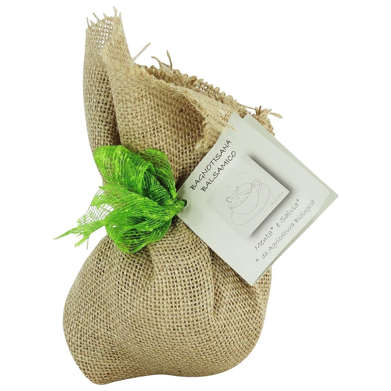 Infuso da Bagno - Bagnotisana Balsamico con Menta e Salvia da Agricoltura Biologica Italiana - Sacchetto Regalo Yumi Bio Shop