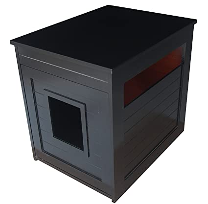 amazoncom pet hup hup arena kitty litter box and accent table pet house and litter box comfort washroom with night stand black pet supplies arena kitty litter box