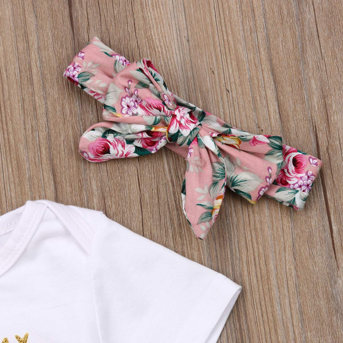 3PCS Baby Girls Worth The Wait//Daddys Girl Print Outfit Clothes Romper Bodysuit Pants Headband Set