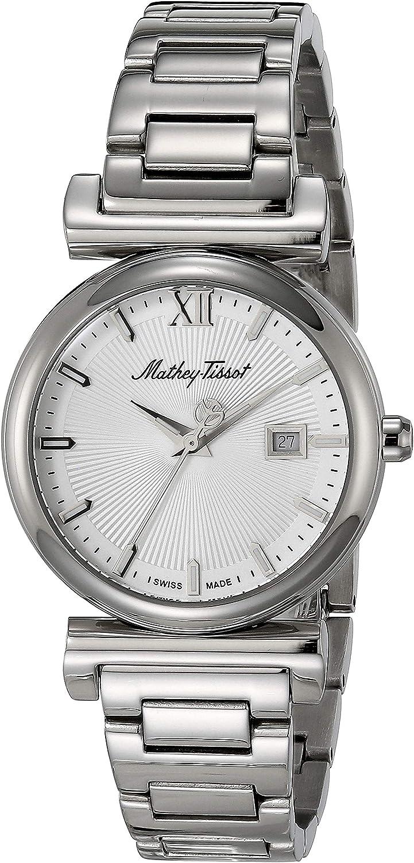 MATTHEY-TISSOT - Correa de acero inoxidable para mujer, cuarzo, plata, 15 relojes casuales (modelo: D410AI)