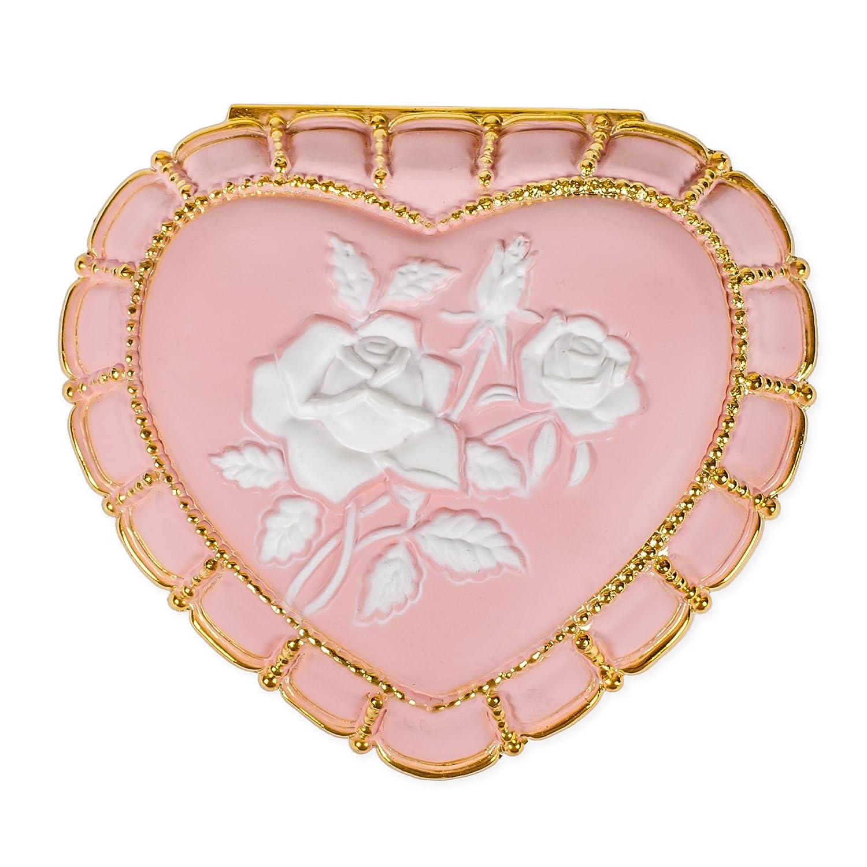 Matte Pink Heart Shaped Jeweled Gold Tone Metal Music Box Plays 18th Variation Splendid Music Box Co.
