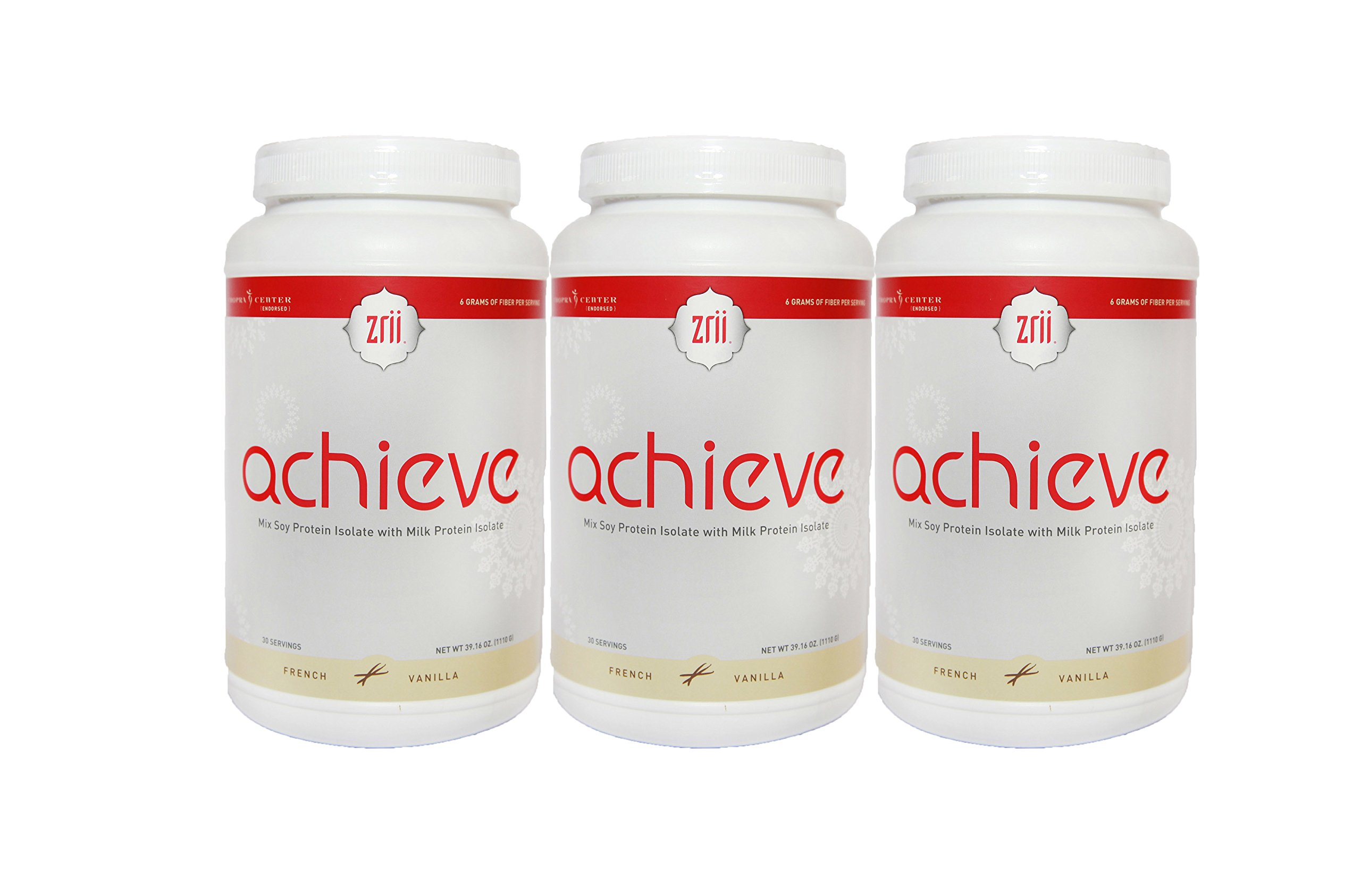 3x Zrii ACHIEVE Mix Soy Protein Isolate with Milk Protein Isolate French Vanilla ( 39.16 ounce )