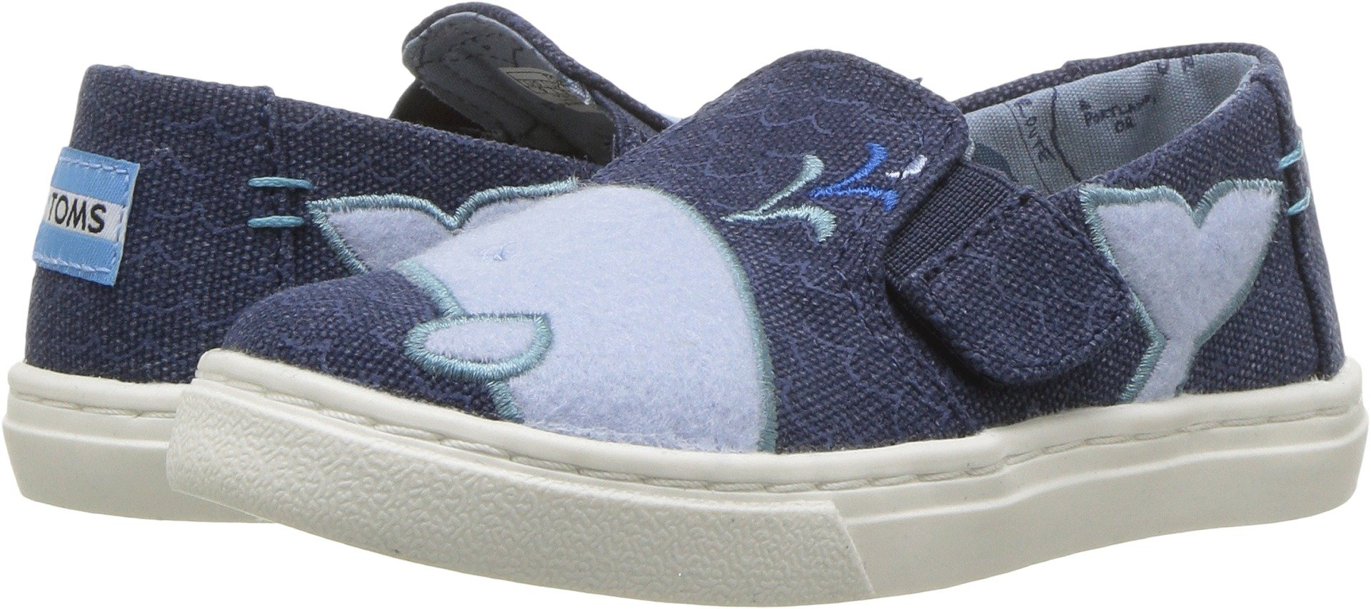 TOMS Kids Unisex Luca (Infant/Toddler/Little Kid) Blue Whale Patch 6 M US Toddler