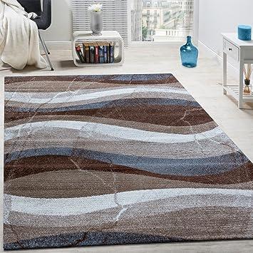 Paco Home Designer Teppich Modern Kurzflor Wellen Optik Abstrakt