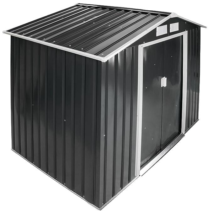 TecTake Cobertizo caseta de jardín metálica de Metal Invernadero almacén | + fundación Modelos (Tipo 3 | Gris | no. 402568)